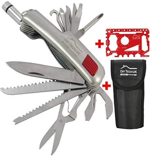 DIY TECH UK - 15-in-1 Taschen-Multifunktionswerkzeug + Kostenloses 48-in-1 Werkzeug - EXTRA STARK Hoch Kohlenstoffhaltigen Stahl - Flaschenöffner, Messer, Säge, Taschenlampe, Schere + Beutel
