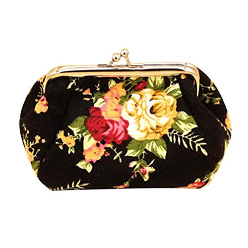 yqs Monedero de mujer retro monedero señora moda mini chica monedero flor mujer monedero monedero de lujo pequeño monedero negro