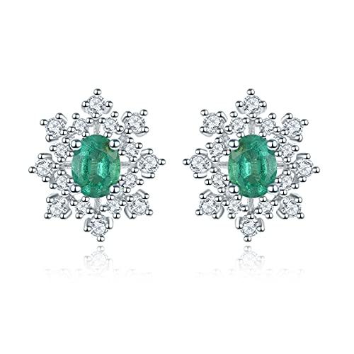 Lohaspie - Pendientes de tuerca para mujer, plata de ley 925 para niñas, pendientes de esmeralda, pendientes de plata con piedra verde, regalos de joyería fina para cumpleaños y Navidad