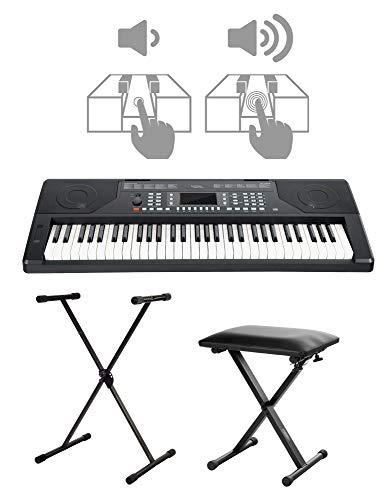 FunKey 61 Edition Touch Keyboard Set - 61 Tasten - Touch Response - 300 Sounds & 300 Rhythmen - Begleitautomatik und Lernfunktionen - inkl. X-Stativ und Hocker - schwarz