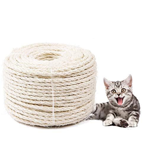 Sunshine smile 3mm Natural Sisal Seil, Sisalseil für Kratzbaum, 10 m Mehrzweckseil Sisal, für,Katzen,Kratzseil,Gartenbündelung,Haushalt,Garten,DIY,Kunsthandwerk,Dekoration