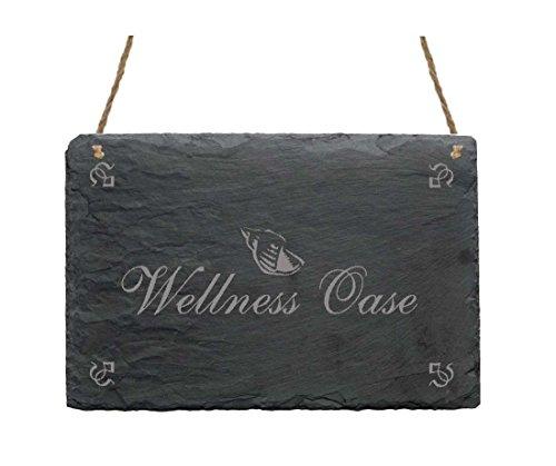 Schieferplatte Schild « WELLNESS OASE » mit MOTIV Haushalt Spa Hotel Beauty Dekoschild Dekoration
