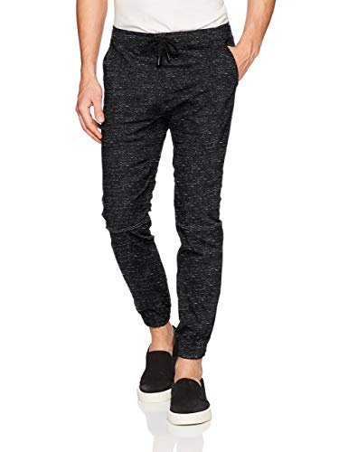 BROOKLYN ATHLETICS Herren Twill Jogger Pants Soft Stretch Slim Fit Trousers Jogginghose, Black Space Dye, X-Groß