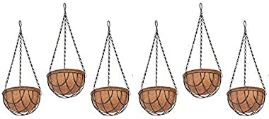 COIR GARDEN Hanging Basket Coco Gardening Pots with Stand (10 Inch) 6 Pieces