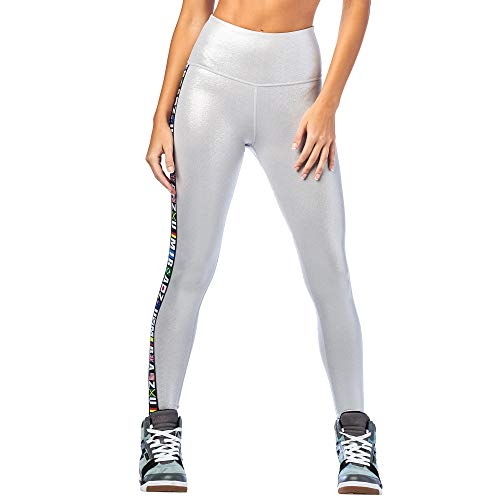 Zumba Wide Waistband Dance Fitness Compression Fit Workout Metallic Leggings For Women, Plata, M para Mujer