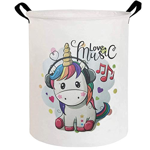 ESSME Large Storage Bin,Canvas Fabric Storage Baskets with Handles,Collaspible Laundry Hamper for Household,Gift Baskets,Toy Organizer(Cartoon Unicorn)