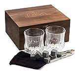 LEEBS Premium Whiskey Stones Gift Set - 2 Large Whiskey Glasses, 8 Granite Scotch Chilling...