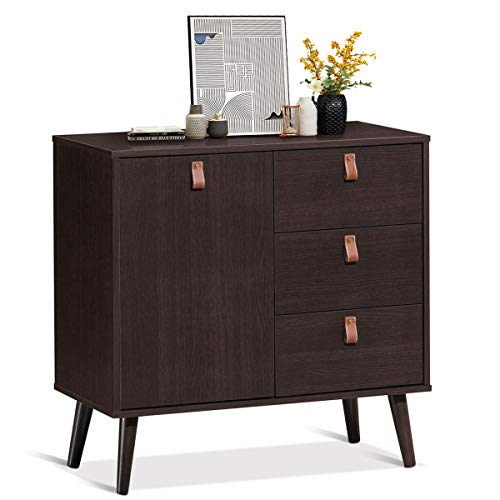 Mejor Giantex Sideboard Storage Cabinet with Doors and Adjustable Shelf, Console Table Multipurpose Furniture for Living Room, Bedroom, Study, Office 3- Drawer Chest (Dark Brown) crítica 2020