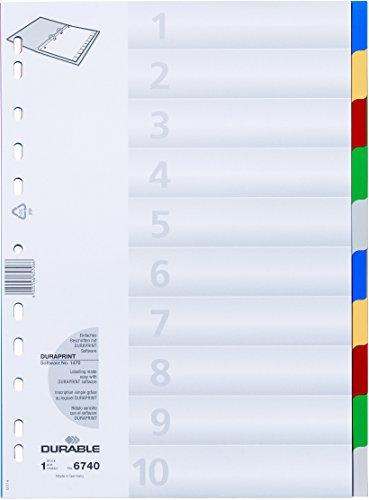 Preisvergleich Produktbild Durable 674027 Ordnerregister (aus PP,  Tabe blanko / 2 x 5-farbig,  für A4