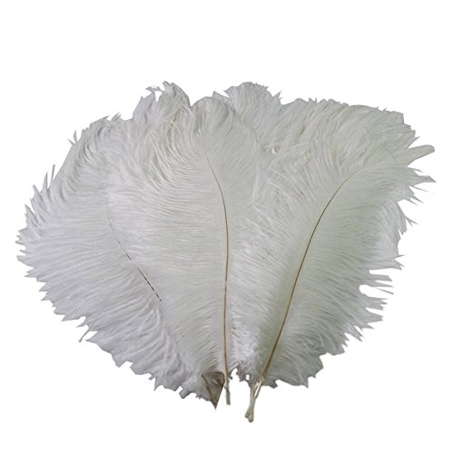 Sealike 100 Pcs 15-20cm Real Natural Home Decor Ostrich Feather Great Party Wedding Party Decorations with a Stylus White