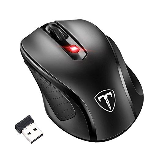 Inalámbrico portátil ratón, omorc 2400dpi ratón de Ordenador Mini PC Ratón con 2.4G, ratón óptico de 6Botones 5Ajustable dpi Niveles–gmaing ratón para Windows, Mac y Linux (Negro)