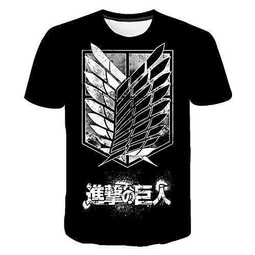 Popular Anime – Camiseta Attack On Titan 3D Print Fashion Streetwear Hombre Mujeres Deporte Casual T Camiseta Hip Hop Tees Tops Ropa Ropa de vestir Talla Male Color, 7b51f75h, L