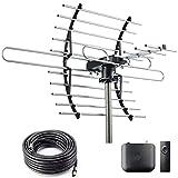 CeKay Digital HD TV Antenna, Outdoor/Attic Antenna, 360 Degree Rotation Wireless Remote, 4K 1080P VHF UHF