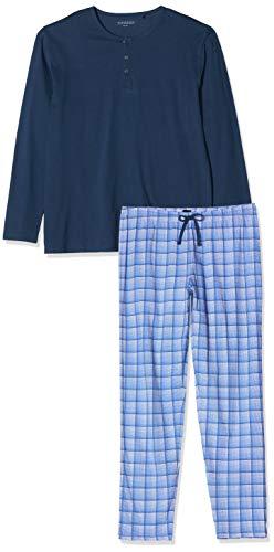 Schiesser Herren Schlafanzug lang mit Bündchen, Blau (Dunkelblau/Gelb), X-Large (Hersteller-Größe: 106)