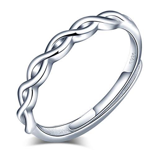 Anelli aperto da donna in argento 925, anello con simbolo di infinito, anello di fidanzamento, anelli di nozze, misura regolabile, regalo di Natale e compleanno