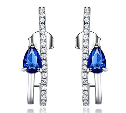 XIRENZHANG Pendientes de Mujer 925 Sterling Silver Drop Pendientes de Lujo Pendientes de Zafiro y Diamante