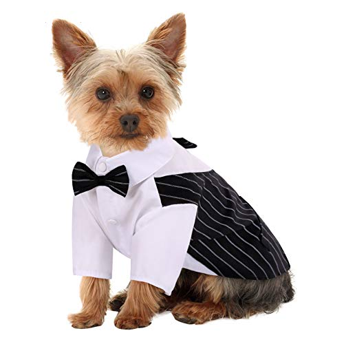 Queenmore Dog Tuxedo for Small Medium Large Dogs, Formal Dog Suit Shirt with Bow Tie, Black Stripe Suit for Wedding, Birthday Party, Holiday, Dog Prince Groom Costume for Puppy Bulldog French Pug
