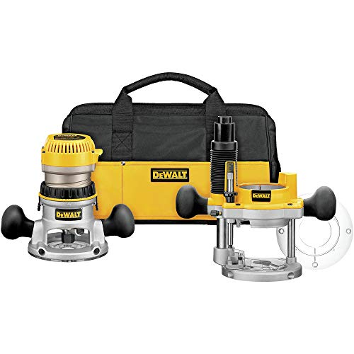 Dewalt DW618PKBR 2-1/4 HP EVS Fixed/Plunge Base Router Combo Kit with Soft Case (Renewed)