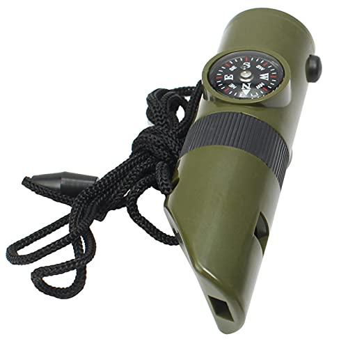 Cirdora 7 In 1 Camping Survival Whistle Notpfeife Camping Survival Pfeife Werkzeug Pfeife Im Freien Inklusive Pfeife, Lupe, Lampe, Kompass, Thermometer, Spiegel Und Versiegeltem Rohr