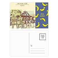 チチェンイツァメキシコ古代文明の描画 バナナのポストカードセットサンクスカード郵送側20個