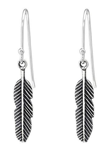 Best Wing Jewelry - Pendientes colgantes de plata de ley 925 con diseño de plumas pequeñas