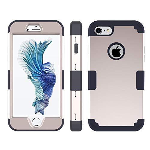 Wakaha Caja del teléfono for el iPhone 8 y 7 Separable Color de Contraste PC + Silicone Case Combinación st (Color : Gold)