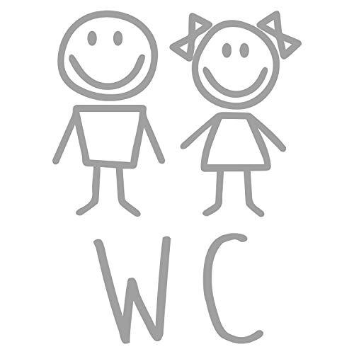 WC Tür-Aufkleber I Silber I 18 x 24 cm I Motiv Mädchen und Junge I für Badezimmer-Tür, Toiletten-Sticker I Klebe-Schild für Restaurant Laden Geschäft I Folie selbstklebend I hin_647