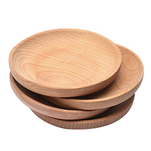 Natürliche Holzteller / Servierschalen, Massivholz, Handarbeit, dekorativ, bspw. zum Frühstück und andere Brotzeiten, für Tapas und Nüsse, Pizza, Kuchen, Desserts, Snacks, Obst und mehr