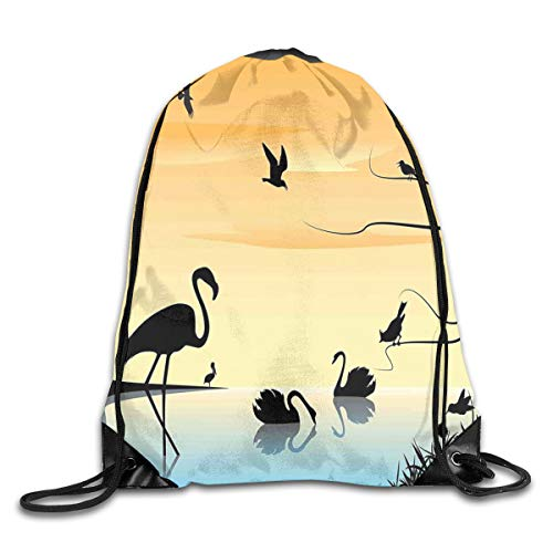 NoBrand Drawstring Backpack Sports Gym Bag for Women Men, D4664 Early Morning By The Sea Sunrise Scenery With Exotic Animals