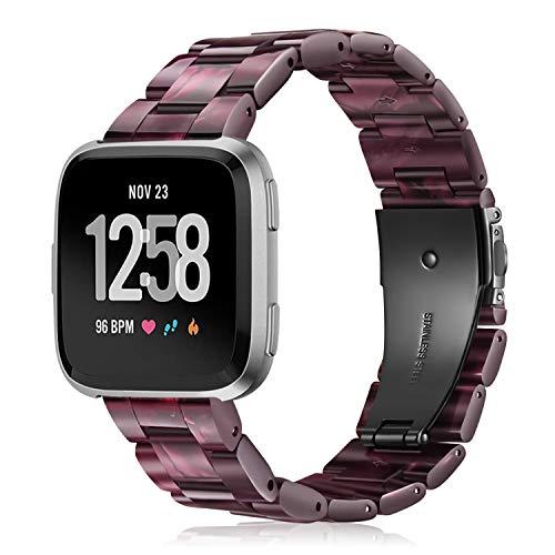 Fintie Correa Compatible con Fitbit Versa 2 / Fitbit Versa/Fitbit Versa Lite - Pulsera de Repuesto de Resina Premium con Hebilla de Metal, Púrpura