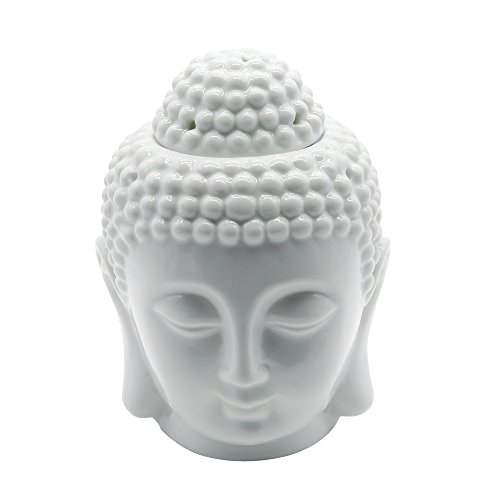 Omonic Porcelain Zen Garden Yoga Meditation White Thai Buddha Head Statue Essential Oil Burner Aromatherapy Diffuser Home Decor (White)