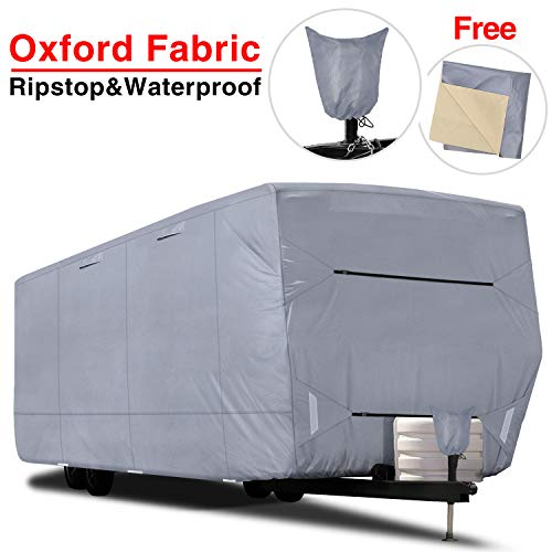 RVMasking Upgraded 100% Waterproof Oxford Travel Trailer RV Cover, Fits 24'1