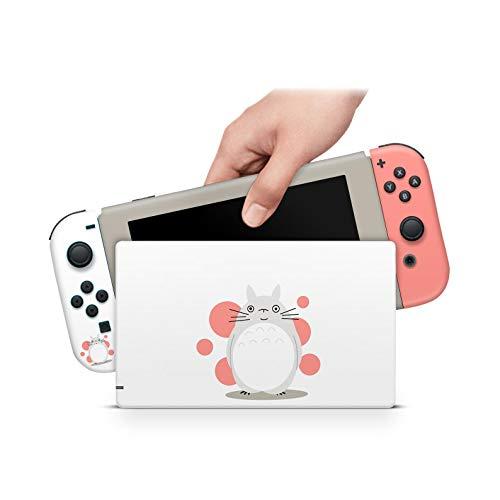 ZOOMHITSKINS Totoro Inspired Studio Pink White Ghibli Tonari Kawaii Anime Japan High Quality 3M Vinyl Decal Sticker Wrap, Nintendo Switch Compatible, Made in the USA