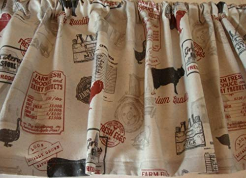 Valance Farmhouse Fabric Natural Black Red Custom Made Decorator Fabric
