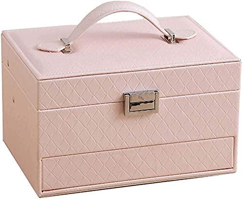 Joyero, caja de almacenamiento de cuero de PU de tres capas, con espejo y cajones, utilizado para almacenar anillos, pulseras, pendientes, collares, regalos de Navidad rosa