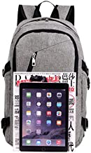 MUFUBU Presents Kaka Laptop Backpack with USB Cable and Charging Port for Suitable for School, College, Office - Colour Grey