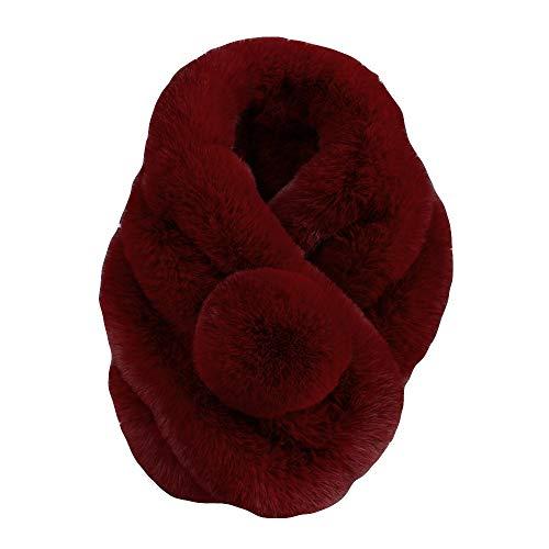 KPILP Frauen Fellimitat Gras Schals Warme Schal Mode Neue Winter Elegante Nette Pashminas Umhang,Rot