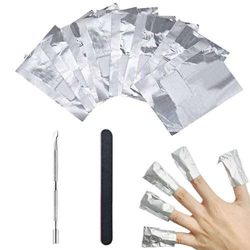 Nail Polish Remover Wraps Pads 100 Stück, Ultradünnes Nagellack Remover Aluminiumfolie und 1 Stück Nagelhaut Schieber und 1 Nagelfeile Streifen, Hilfsmittel zum einfachen entfernen...