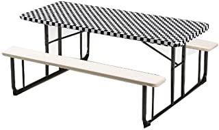 Creative Converting Plastic Stay Put Banquet Table Cover, 30 by 96-Inch, Black Check