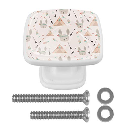 Z&Q Tirador Pomo Mueble Infantil Conejo Indio Divertido De Pomos Tiradores para Armario/Cajón/Baño para Habitación de Infantil Decoración 4 Pcs 3x2.1x2 cm