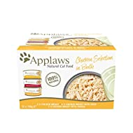 Applaws 100% Natural Wet Cat Food, Multipack Chicken Selection in Broth 156 g Tin (Pack of 12)