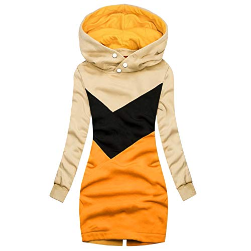XOXSION Giacca da donna con cappuccio, per autunno e inverno, antivento, slim B-giallo XXXL