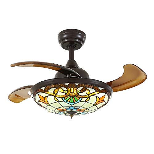 SILJOY Ventilador de techo Tiffany con luces y alas extensibles, color marrón oscuro, ventilador invisible, lámpara de araña regulable, iluminación LED regulable sin niveles, 36 pulgadas