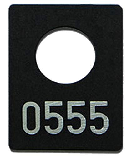 100 Garderobenmarken Kunststoff, Plastik in schwarz mit Ziffernprägung, div. Nummerkreise wählbar (Nr. 0001-0100)