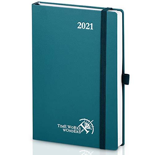 Agenda 2021 Giornaliera A5 Copertina Rigida - Pianificatore 2021 con Pagine di Note e Rubrica, Tasca Interna, Formato Grande 14 x 21 cm, 368 Pagine, Pacifico Verde