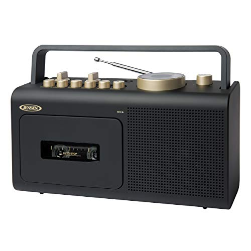 Jensen MCR-250BG Modern Record Player Portable Personal Retro Boombox with Cassette Player/Recorder + AM/FM Radio Stereo + Aux Input Jack & Built in Speakers (Black/Gold)
