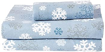 Pointehaven Heavy Weight Printed Flannel 100-Percent Cotton Sheet Set Twin XL Snow Flakes