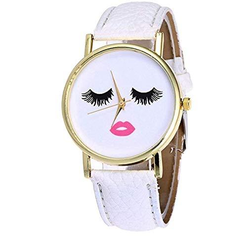 Kaitoly Fashion Watch! Vansvar Damen Quarzuhr Einzigartige Analogteen Mädchen Fashion Lady Uhren Casual Armbanduhr für Frauen Bequeme PU Leder Armbanduhr H38 L weiß