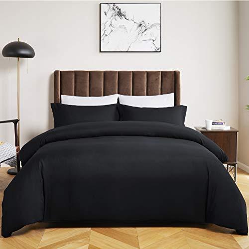 Bedsure Black Duvet Cover Queen Set Zipper Closure (90x90 Inch) Ultra Soft Brushed Microfiber Bed...