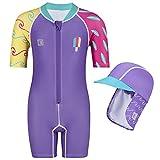 Juicy Bumbles Bañador Bebe Niña - Traje de Baño con Protección Solar Anti UV de Una Pieza para Bebés y Niños Pequeños - Traje de Mangas Cortas UPF50 + Surfista - 6-12 Meses